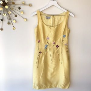 Kay Unger yellow beaded & embroidered Sheath dress